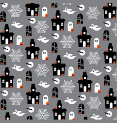 Haunted house and ghost pattern on gray vector
