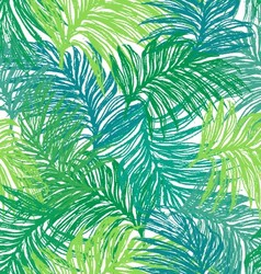 Ink hand drawn jungle leaves seamless pattern vector image vector image