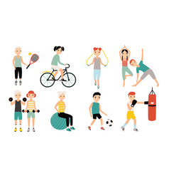 kids sports activity collection exercising vector image vector image