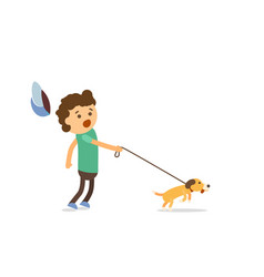 Little boy walking with his naughty puppy vector
