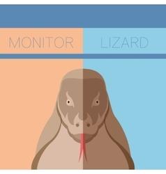 Monitor lizard flat postcard vector
