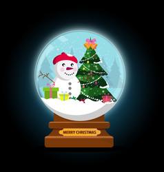 Night snow globe and christmas tree with balls vector