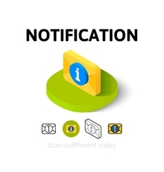Notification icon in different style vector