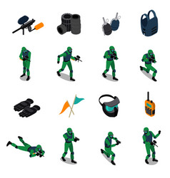 Paintball isometric icons set vector