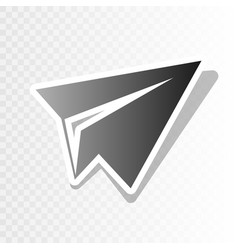 Paper airplane sign new year blackish vector