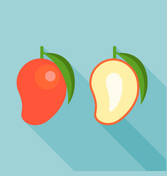 red mango and half of mango vector image