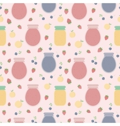 Seamless pattern with fruits and jars of jam vector