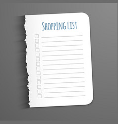 Shopping list torn a blank sheet of paper to vector