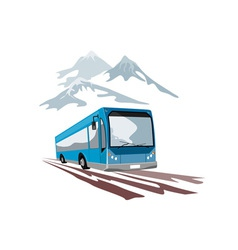 Shuttle coach bus and mountains vector