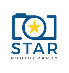 Star camera logo icon template vector