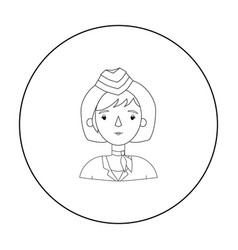 Stewardess icon in outline style isolated on white vector