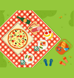 Summer picnic in park banner vector
