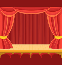 Theater scene with a red curtain vector