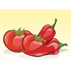 Tomatoes and red pepper vector image
