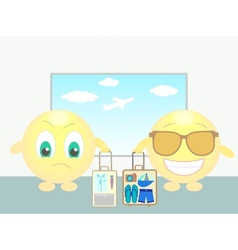 Two smiles in airport bussiness trip and vacation vector