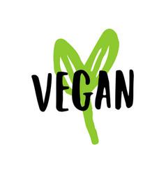 Vegan lettering sign vector