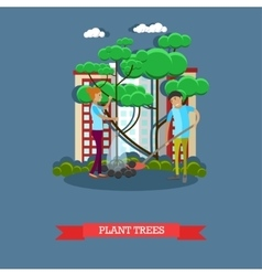 Volunteers planting trees vector