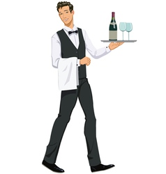 Waiter with a tray vector
