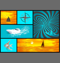 Water transport and travel set vector
