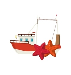 fishing boat and starfish icon vector image