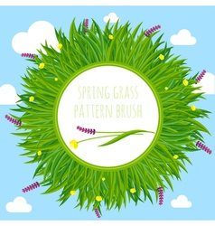 Spring grass pattern brush border frame vector image
