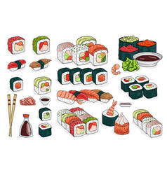 Set of sushi rolls wasabi soy sauce ginger vector