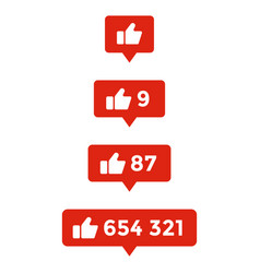 likes symbol set of counter notification thumb vector image