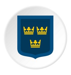 Coat of arms of sweden icon circle vector