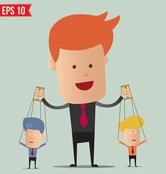 Business man control the doll - - eps10 vector