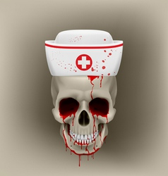 Bleeding skull in nurse cap vector