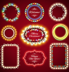 Christmas lights frames set vector