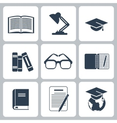 Black education icons set on white vector