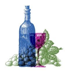 Wine bottle logo design template grapes or vector