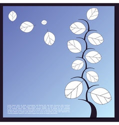 Decorative tree with white leaves on blue vector