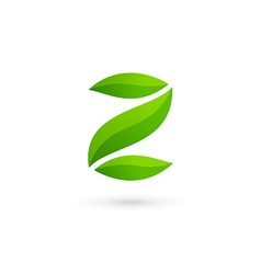 Letter z number 2 eco leaves logo icon design vector