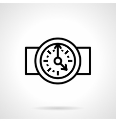 Round clock black simple line icon vector