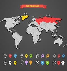 World map infographic template with different mark vector