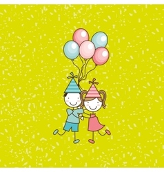 Happy children on party design vector