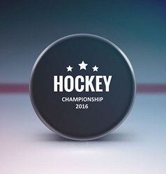 Hockey puck isolated on ice with blur vector