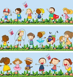 Children playing together in the park vector image