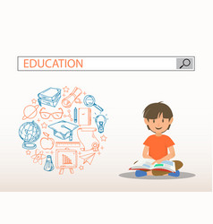 A reading boy with education search engine bar vector