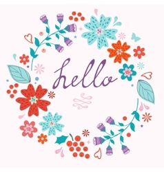 Beautiful hello card with floral wreath vector