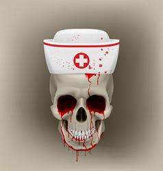Bleeding skull in nurse cap vector