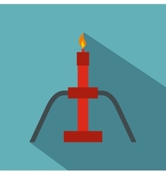 Burning oil gas flare icon flat style vector image