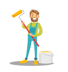 caucasian white painter holding a paint roller vector image