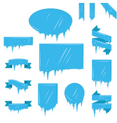 collection of frozen icicle snow winter vector image vector image