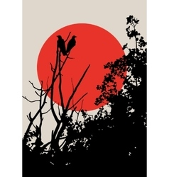 Crows on tree vector