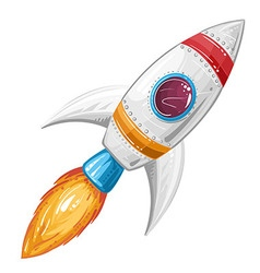 Cute cartoon rocket space ship vector