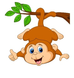 Cute monkey hanging on a tree branch with thumb up vector image vector image