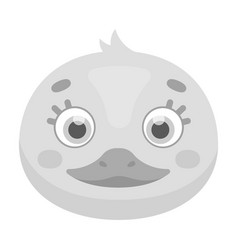 duck muzzle icon in monochrome style isolated on vector image